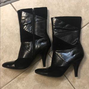Nine West black velvet and leather boots
